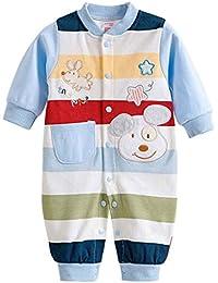 Happy Cherry Mono Pijama de Algodón Pelele Cartoon Ropa de Una Sola Pieza para 0 - 12 Meses Bebés Recién Nacidos Niñas Niños Unisex Infantil Jumpsuit Baby Romper