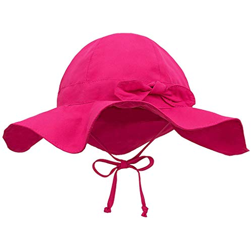 SEWORLD Baby Kleinkind Kinder Atmungsaktiver Mädchen Breite Sonnenhüte für Summer, Gute Passform, Größe Einstellbar UV-Schutz Fischerhut Kappe Sommerhut Punkt Mütze Freizeithut(Hot Pink)