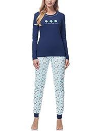 Italian Fashion IF Pijama Conjunto Camiseta y Pantalones Ropa de Cama Mujer M007