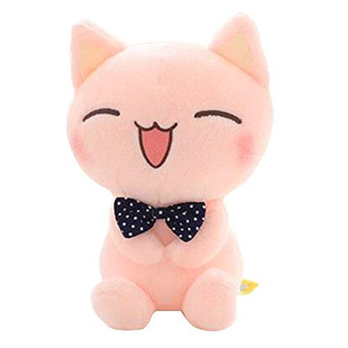 Muñeca Felpa rellena de Gato, Animal de Peluche, Gatito Sonriente Adorable, Altura sentada de 11 Pulgadas Color Rosa para niños pequeños, niños Unisex, niñas Adolescentes y Amante de Gatos