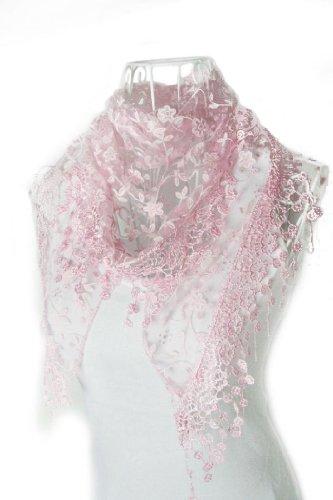 Tefamore Bufanda Mantilla de Triángulo Impresión Flor Mujer Chal De Moda De Encaje (Rosa1)