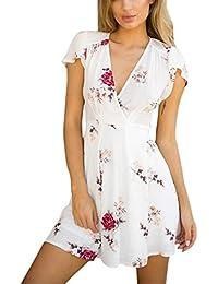 Damen Maxikleider Sommerkleider,Rosennie Vintage Boho Blumen Long Kleid  Lady Beach Sommer Neckholder Printkleider Partykleider 22c5ce71ca