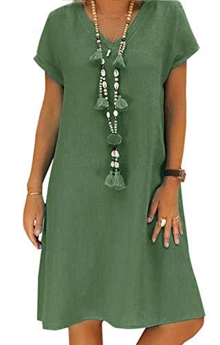 Yidarton Sommerkleid Leinen Kleider Damen V-Ausschnitt Strandkleider Einfarbig A-Linie Kleid Boho Knielang Kleid Ohne Zubehör(Grün,XL) - Hochzeit Kleid Boho Strand
