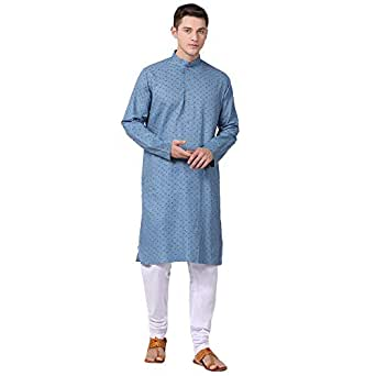 TABARD Full Sleeve Regular Fit Pure Cotton Kurta (Grey)