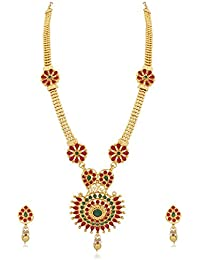 PALASH FLORAL DESIGNER GOLD PLATED SOUTH INDIAN LONG NECKLACE SET WITH MULTICOLOR STONES FOR WOMENS