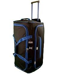 Grande taille Sac de voyage 90L de Voyage valises souples. Noir avec garniture bleu. Bagagerie