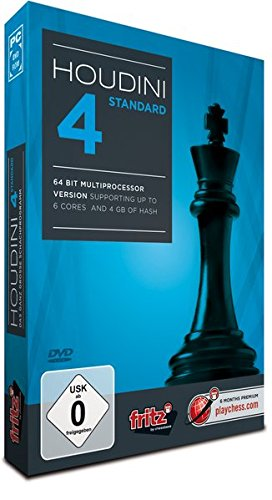 Houdini 4 Standard: PC chess program- 64 Bit Multiprocessorversion  supports up to 6 cores & 4 GB of hash memory -