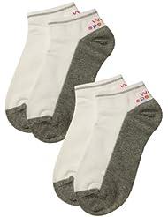 Weri Spezials 2 Paires Chaussettes de Sport pour Enfants Blanc+Gris