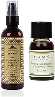 Kama Ayurveda Himalayan Deodar Face Cleanser - 100 ML, Bringadi Intensive Hair Treatment 8ml Combo