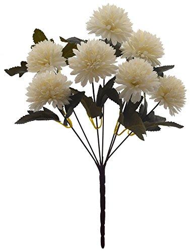 Fourwalls Chrysanthemum Ball Flower Bouquet (49 cm, White, 7 Branches)