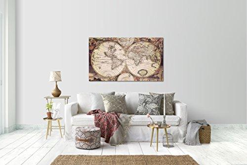 Wandtattoo Wandsticker Aufkleber Vintage Weltkarte Globus Grösse: 120 x 70 cm