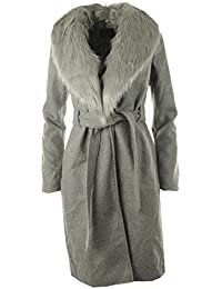 Ada neue Frauen Winterfaux-Wolle-Pelz-Revers-Damen-langer Mantel