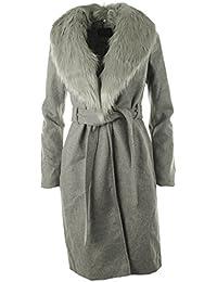 Ada New Womens Winter Faux Wool Faux Fur Lapel Ladies Long Coat