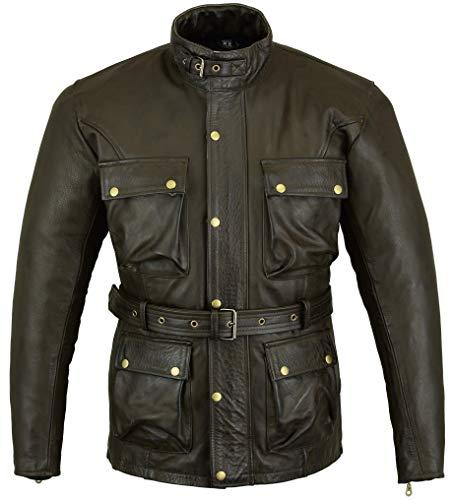 Classic & trattato, colore: marrone cerato, cinturino in pelle, da motociclista, modello Jacked Bikers Gear UK