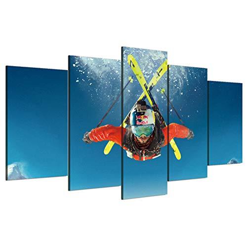 WMAPDWLH Malerei 5 Panel Wohnzimmer HD Druckte Moderne Dekoration Plakatrahmen Freestyle Ski Modulares Bild Wandkunst Home Malerei Auf Leinwand (Freestyle-ski-poster)