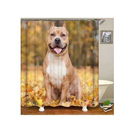 Kostüm Hunde Für Taucher - Amody Duschvorhang Stoff Schimmel Brauner Hund Bad Vorhang Anti Schimmel 150x180CM Vorhänge Fürs Bad