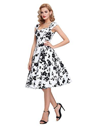 Belle Poque 50er Vintage Retro Rockabilly Kleid Sommerkleid knielang in mehreren Farben BP024-3