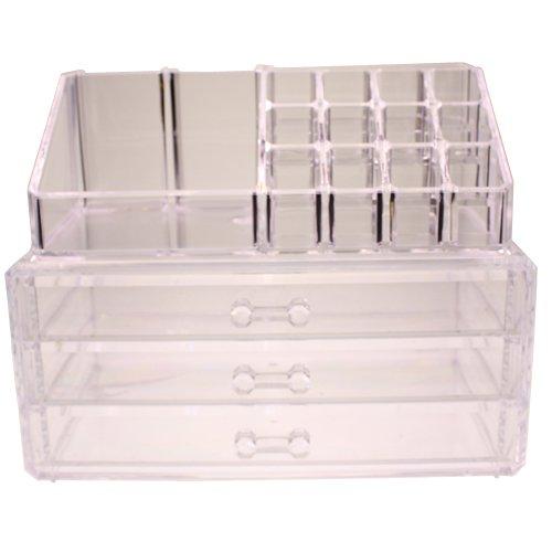 Schmink Aufbewahrung Make Up Organizer - Kosmetik Aufbewahrung Schubladen mit 20 Abschnitte - 16 Kosmetik-Halter & 4 Schubladen von Kurtzy - Acryl Kosmetik Veranstalter Schmuck Display-Multifunktional Ständer