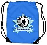 Samunshi Turnbeutel mit Motiv Fussball und Name für Jungen und Mädchen personalisierbar personalisiert mit Namen Sportbeutel für Schule Sport Sporttasche Saphir blau