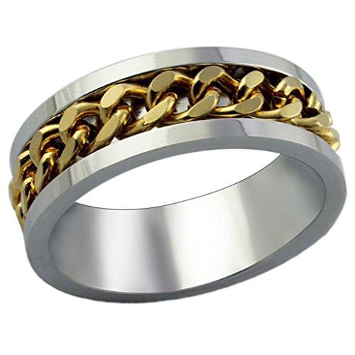 Catena Acciaio inox Classic Canale lamine d'oro degli uomini di Finitura Dimensione 25 di (14k Diamante Tiffany Anello Setting)
