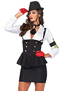 Leg Avenue- Mujer, Color blanco y negro, Small (EUR34-36) (8544001007)