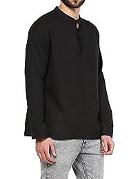 VIVIDS INDIA MEN'S Cotton Short Kurta (Black , G-147 - $P)