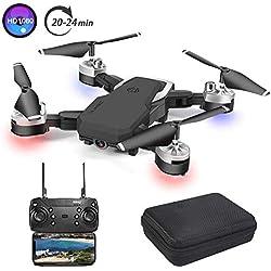 3T6B Drone Plegable, Cámara 1080P HD 5 megapíxeles, Avión WiFi FPV por Control Remoto, Cuadricóptero con 3 Modos de Velocidad, Altitud Hold, Modo sin Cabeza