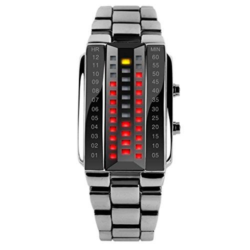 SKMEI - Reloj Digital LED Resistente al Agua Banda de Acero Inoxidable Reloj Electrónico Watch Waterproof para Hombres - Plateado