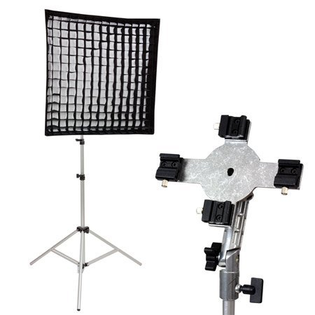 METTLE Systemblitz-Set QUADFLASH: Vierfach-Halter, Softbox, Stativ, Studioschirm