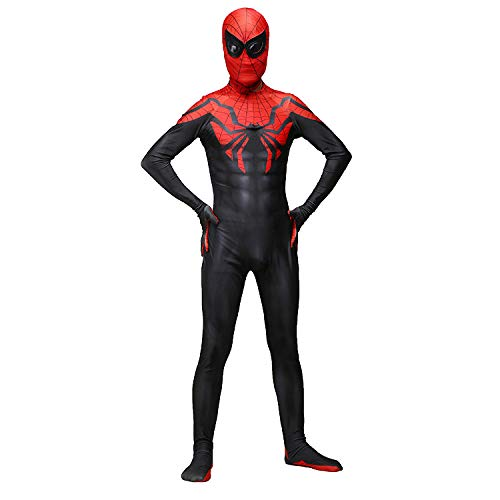 JUFENG Ufficiale Spiderman Morphsuit Costume per Adulti Spandex di Halloween Cosplay Body,OneColor-Child-L
