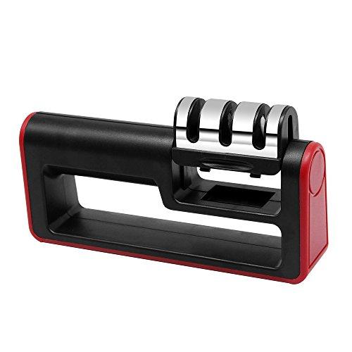 Messerschärfer, Küchenmesserschärfer, manueller Griff, 3-stufiger Diamantmesserschärfer, Werkzeug zum Reparieren und Wiederherstellung von Messern -