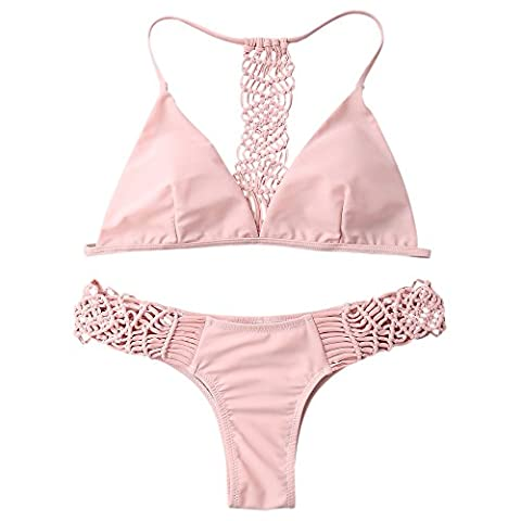 ZAFUL Sexy Strappy Knitting Strand Damen Bandeau Bikini Push Up Set Blumendruck Badeanzug Bademode Tops und Bottoms(Rosa M)