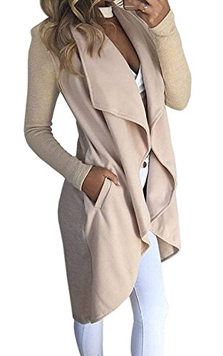 Minetom Damen Herbst und Winter Elegant Mäntel Trench Coat Outwear Wasserfall Schnitt Jacke Lang Kurz Dünner Stoffgürtel (DE 38, Beige)