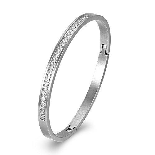 XIUDA Damen Edelstahl Scharnierband Armreif Zirkonia Armband für Geschenk