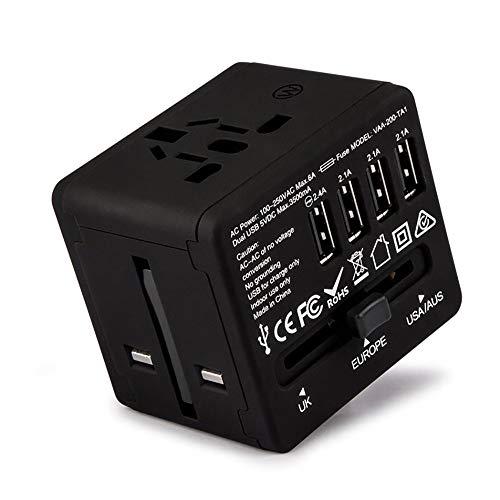 Universal Travel Power Adapter In Einem Weltweiten Internationalen Wand Ladegerät AC Plug Adapter Mit 6A Smart Power USB Und 3,5 A USB Type-C Für USA EU UK Aus Handy Tablet Laptop (Schwarz, Blau, Etc.),Black - Wand Ac Power Adapter