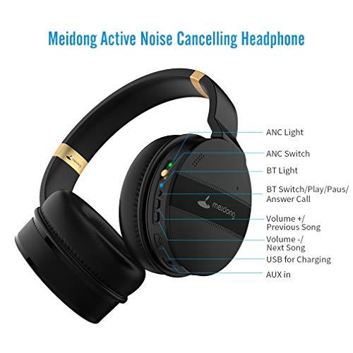 Meidong Duale Aktive Noise Cancelling Kopfhörer Bluetooth, Noise Cancelling Headphone overear Kabellose Kopfhörer mit Mikrofon HiFi Stereo Deep Bass Gemütlich Earpads bis zu 20 Std [Schwarz] - 3