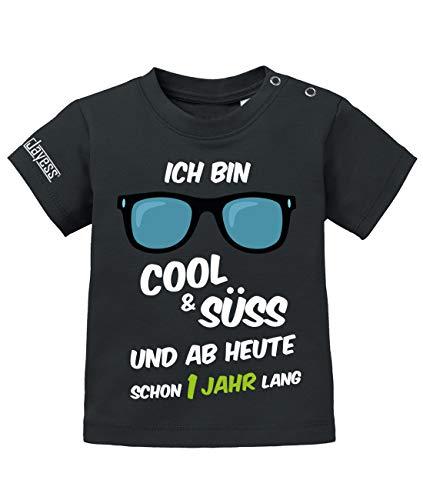 Jayess Baby Shirt Jungen zum 1 Geburtstag - ich Bin cool und süß und ab Heute Schon EIN Jahr lang - in Schwarz Gr. 80/86