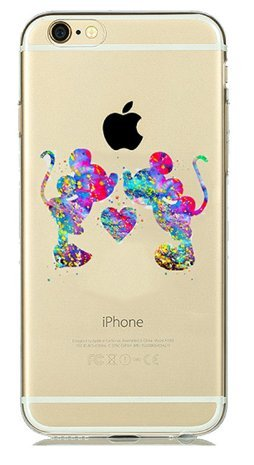 coque iphone 6/6S silicone transparente mickey et minnie