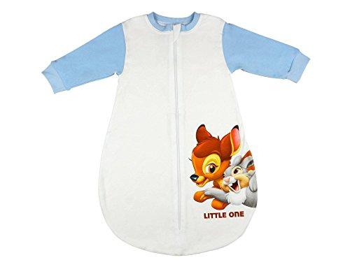 (Disney - Bambi Baby- und Kinder- Sommer-Schlafsack langärmlig aus Baumwolle, UNGEFÜTTERT, mit Bambi und Klopfer, GRÖSSE 56-62, 68-74, 80-86, 92-98 mit Kinn-Schutz, Bein-Freiheit Größe 92/98)