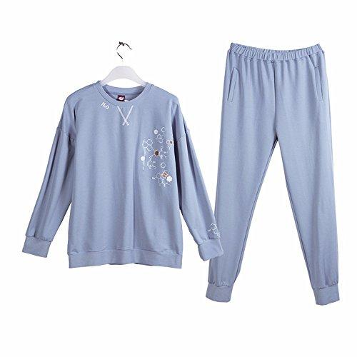 autunno a maniche lunghe quanto riguarda l'abbigliamento da notte pigiama a casa abito di cotone xxl