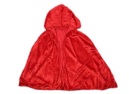 DELEY Mädchen Red Riding Hood Samt Umhang Maskerade Cosplay Umhang Kostüm (Hood Red Riding Kostüm Mädchen)