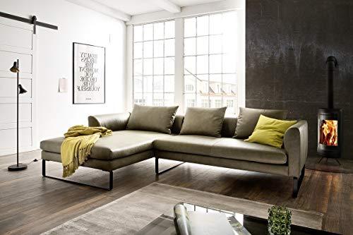 KAWOLA Sofa VOLA Ledersofa Ecksofa Leder grün B/H/T: 284x85x178cm