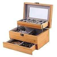 """MKYYLV Jewelry Box and Jewelry Organizer Watch Storage Jewelry Organizer Mirrored Storage Case Gift for Mom, 8.7""""x6.2""""x4.7"""""""