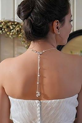 Collier MariÉe ChaÎne Argent 925, Swarovski Et Perles D Eau Douce Bijoux De Dos