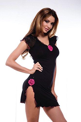 Hamana Eleganter Damen Nachthemd aus Viskose (Schwarz, S)