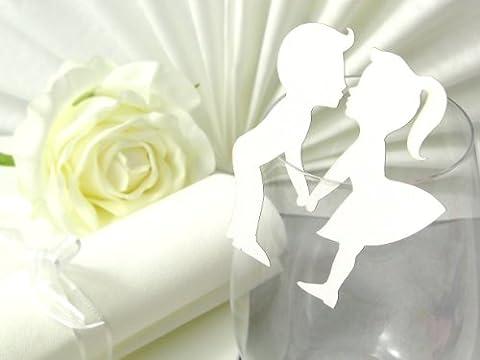 10x Tischkarten Hochzeit EinsSein® Hochzeitspaar weiß Hochzeit, Tischkarten, Goldene Hochzeit, Platzkarten, Namenskarten, Goldene Hochzeit, Platzkarte Glas