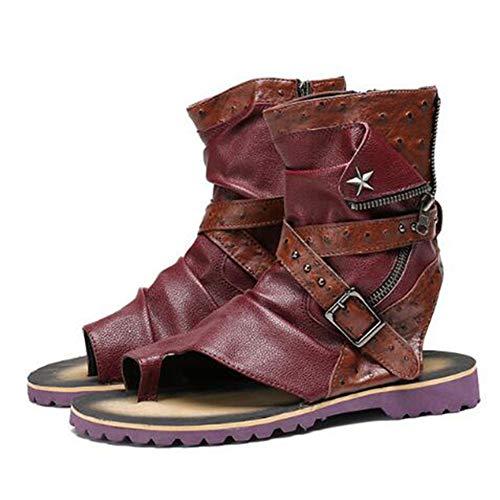 Männer flip Flops Sandalen Stiefeletten Leder offen zehen Flache Clogs Sandalen Sommer im freien Keine rutsch wasserdichte Hausschuhe Schuhe mit reißverschluss magische Schnalle -