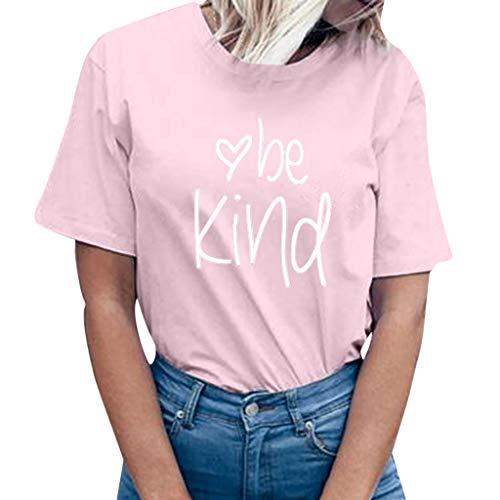 Camisas Mujer Casual,riou Señoras Carta Camiseta de Manga Corta Top Color  sólido Estilo Simple 58977d91096fe