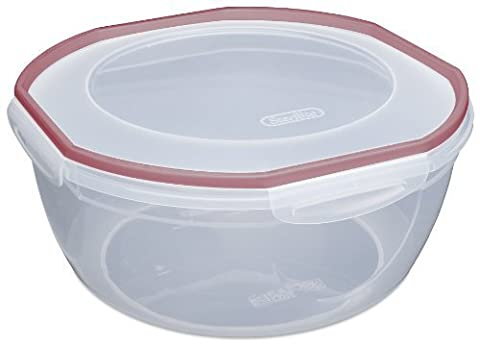 Sterilite 03958604 Ultra Seal 8.1-Quart Bowl Clear Lid and Base with Red Rocket Gasket Accents, 4-Pack by Sterilite