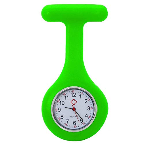 tumundo Pfleger-Uhr Schwestern-Uhr Puls Anstecknadel Kittel Brosche Silikon-Hülle Quarz Damen-Schmuck Krankenschwester, Farbe:neongrün